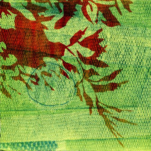 red leaves against a green textured background. Green Leaves #2, monoprint by Bill Brookover.