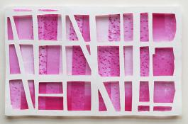 white horizontal grid, 3 rows high, 6 rows wide, over pink rectangles in range of tones. Magenta Window #1 by Bill Brookover