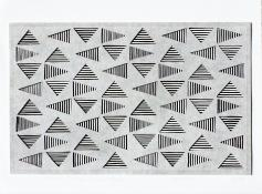 black and white striped triangles in a horizontal grid, seen through a top layer of light gray. Vibrating Triangles (Gray on Black) by Bill Brookover