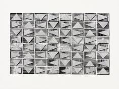 Gray triangles in a horizontal grid, floating over a layer of black and white striped rectangles. Rotating Triangles (Gray on Black) by Bill Brookover