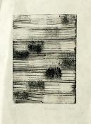 grid of 36 rectangles, 8 high by 4 wide, containing hand-drawn tones of gray and black, with horizontal white lines interspersed. Stepping Softly, monoprint by Bill Brookover.