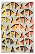 multicolor red, yellow & orange triangles in a vertical grid, seen through a top layer of light gray. Atmospheric Triangulations #1 by Bill Brookover