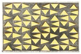 yellow and white striped triangles in a horizontal grid, seen through a top layer of dark gray. Vibrating Triangles (Gray on Yellow) by Bill Brookover