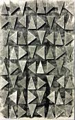 Gray triangles in a vertical grid, floating over a black and gray monoprint background. RT Black Sky, relief and collage print by Bill Brookover