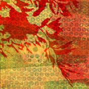 red orange leaves on yellow orange textured background
