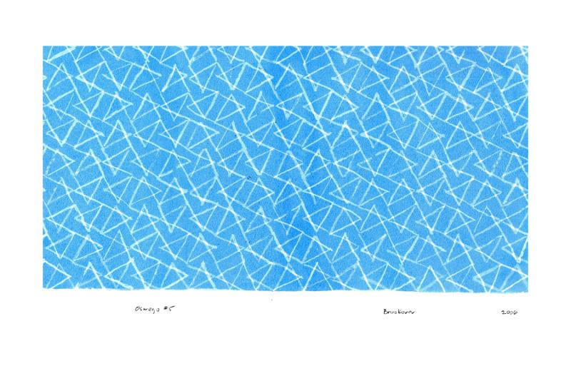 print with white triangles over blue background, Oswego #5 by Bill Brookover