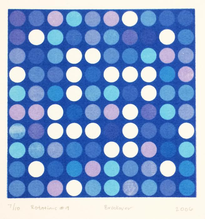 square grid of circles in blue and purple on blue background, Rotations #9, screenprint by Bill Brookover