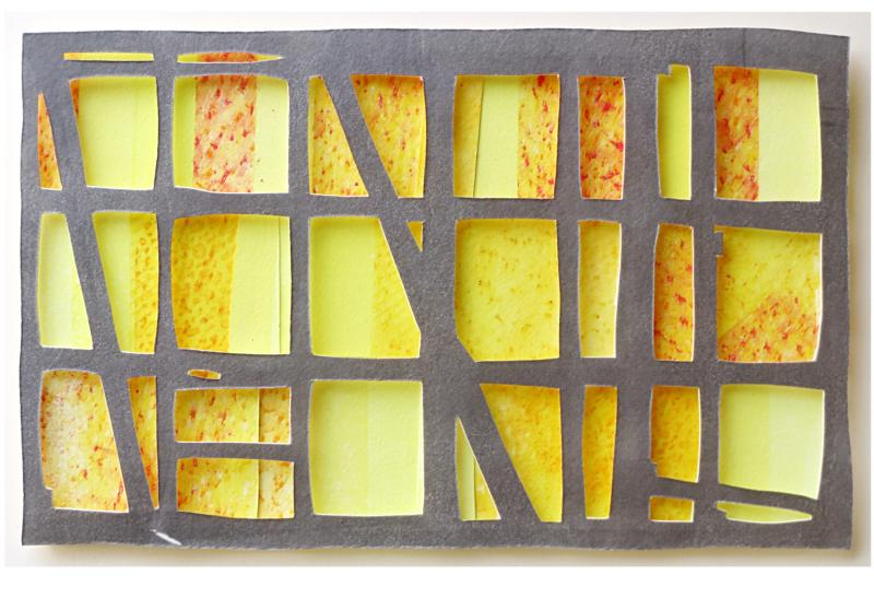gray horizontal grid, 3 rows high, 6 rows wide, over yellow rectangles in range of tones. Bounty's Glow by Bill Brookover