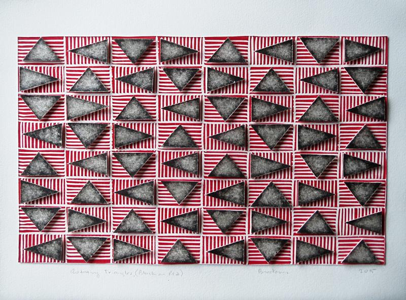 Black and white triangles in a horizontal grid, floating over a layer of red and white striped rectangles. Rotating Triangles (Black on Red) by Bill Brookover
