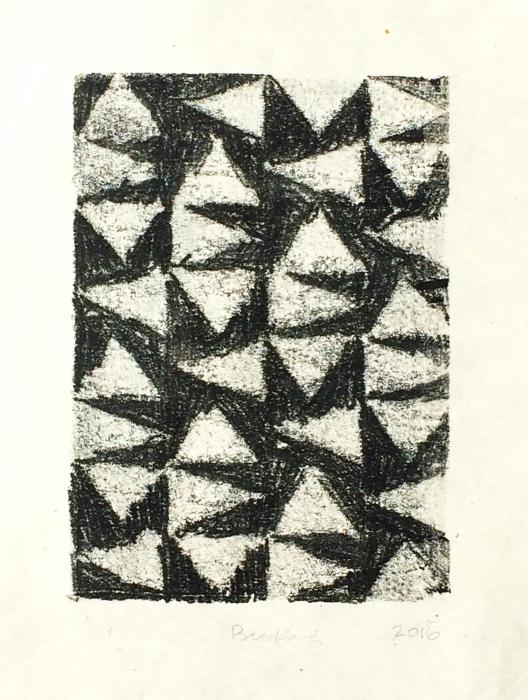 grid of 36 triangles, 8 high by 4 wide, containing white hand-drawn triangles on dark background. Floating Triangles, monoprint by Bill Brookover.