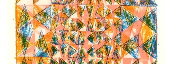 Multi-color triangles arranged in a vertical grid, overprinted in pink, orange, & blue